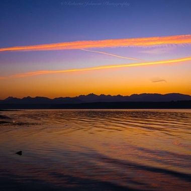 Sunset with the Olympic mountains, I love the beauty of the PNW.