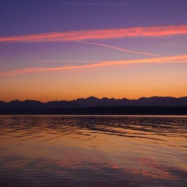 Sunset with the Olympic Mountains,