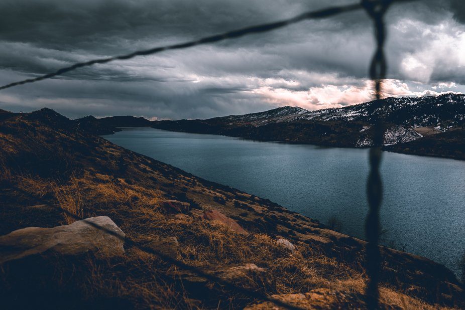 Horsetooth reservoir in a storm