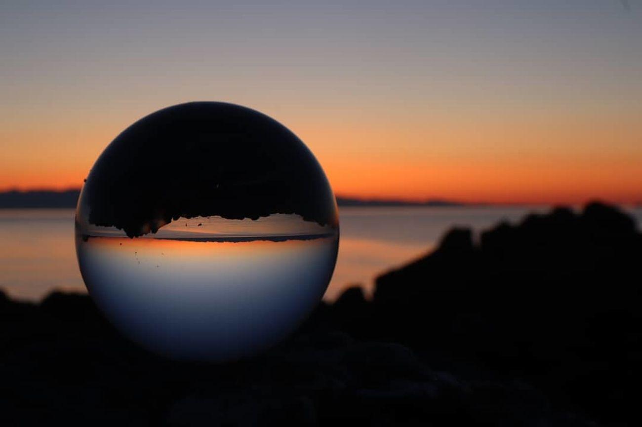 Sunrise through a lens ball