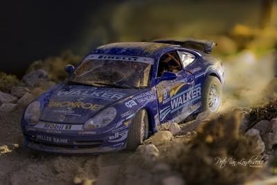 Diorama of a rally car