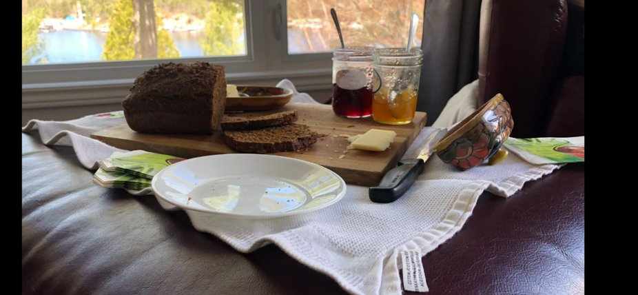 Saturday afternoon repast. Homemade nread, homemade jam, beautiful setting