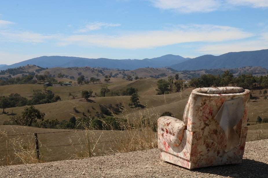 A well equipped viewing spot for hilly panorama in central Victoria, Australia
