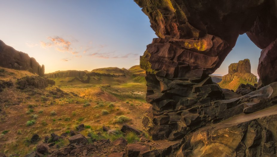 Twin Sisters are two pillars of basalt that jut from the cliffs along Wallula Gap overlooking the...