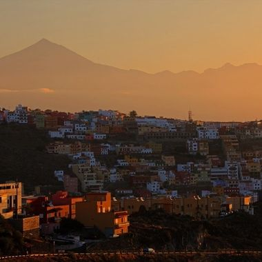 View of Volcano Teide in the island of Tenerife, from the island of La Gomera, in the Canary Islands.