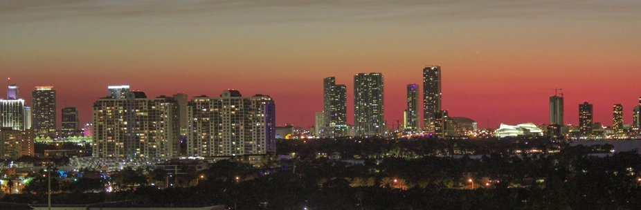 A capture of the Miami skyline in the evening hours