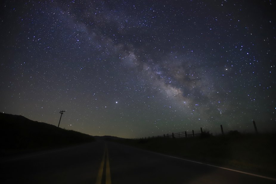Journey through the Stars.  CA pacific highway 1 provides t foreground