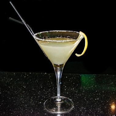 a salted lemon Margarita in a martini glass