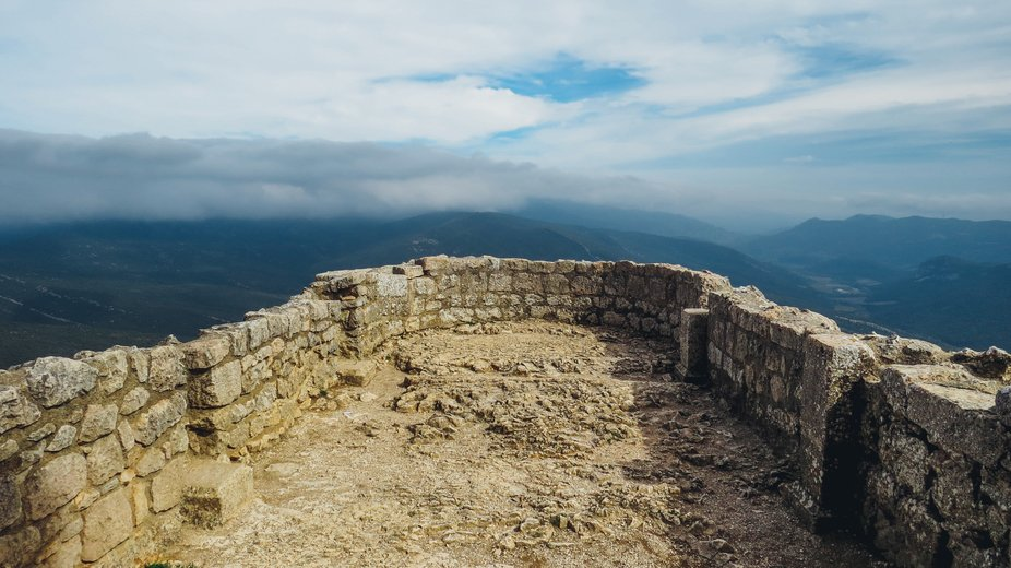 Pyrenean view from the top of Château de Peyrepertuse