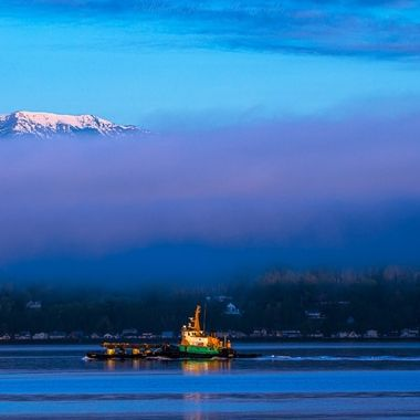 Tug boat on Hood Canal in Washington state.