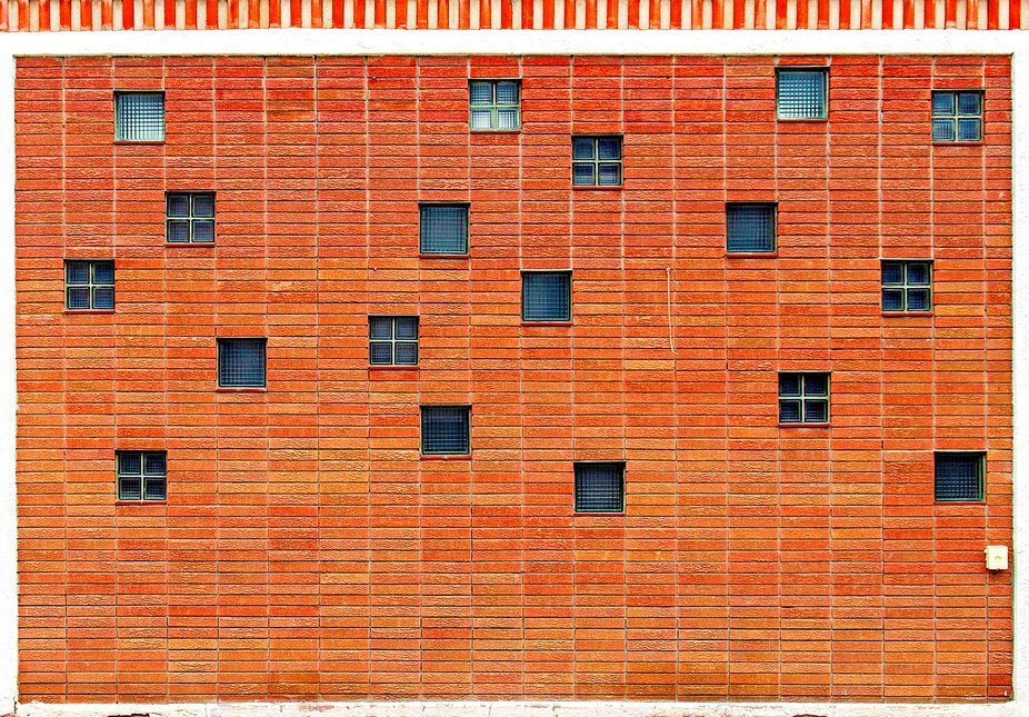Brick Wall with Glass Blocks