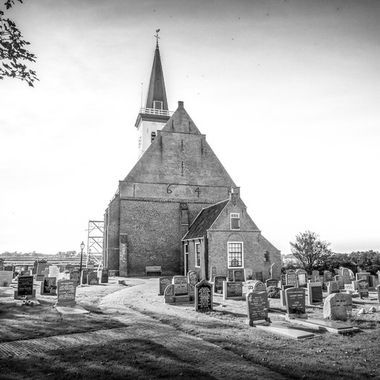 Little church and cemetery in black and white, Den Hoorn, Texel, Netherlands