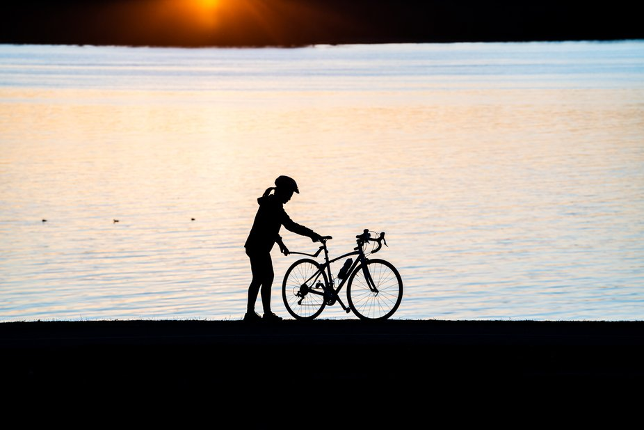 Sunset along the Ottawa River, Ontario as people get outside to exercise during the 2020 pandemic.