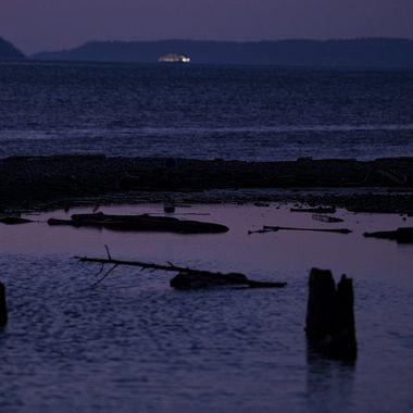 Mauve Pond with Ferry