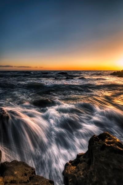 Beautiful southern California sunset on the beach in Laguna