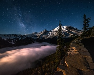 Milky Way Above Mt Ranier as the Moon Starts to Crack the Horizon to the East