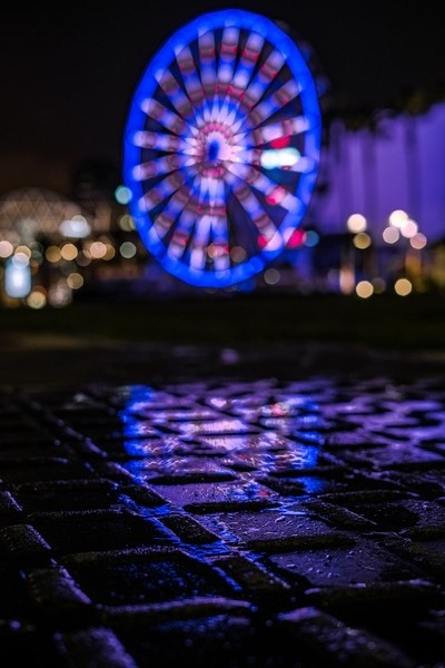Light Reflection in the Water in Front of Lit Up Ferris Wheel