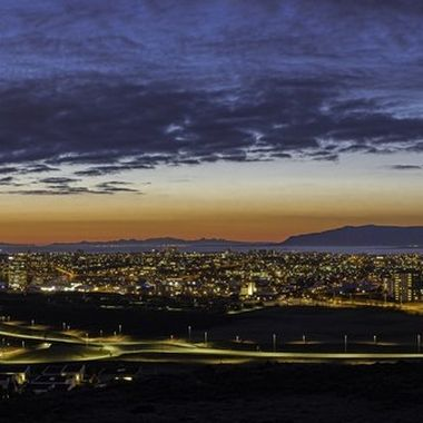 Reykjavik and surroundings before midnight