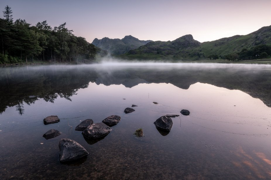 Misty Water    Taken just before sunrise at Blea Tarn last June.    The mist moved around on the ...