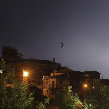 storm over medieval village of The Alberca (Spain)
