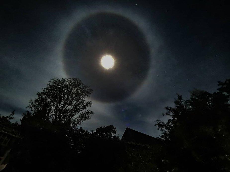 Moon halo   Full moon, sky, flower moon