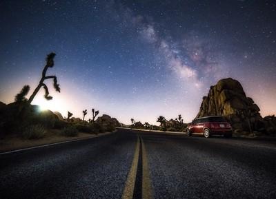 Milky Way Above Empty Road in Joshua Tree, California