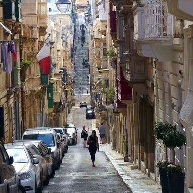Valletta Malta street tourists