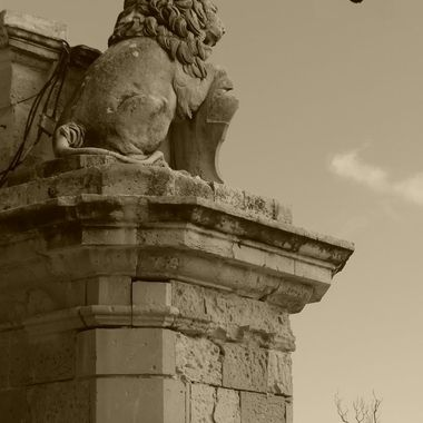 Lion statues watching over gate