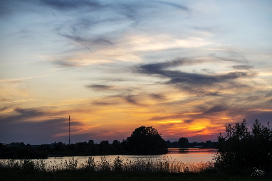 Sunset in Houten (Tull) near the Lek (one of the main rivers in The Netherlands).    (c) 2020 P.T...