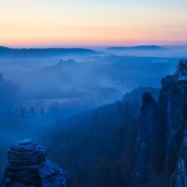 Blue hour in Elbsandstein Mountains