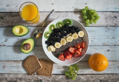 Healthy breakfast on wooden table
