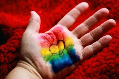 'I Love LGBT' art painted on hand