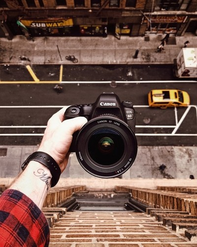 Taking a photo of a camera on the roof