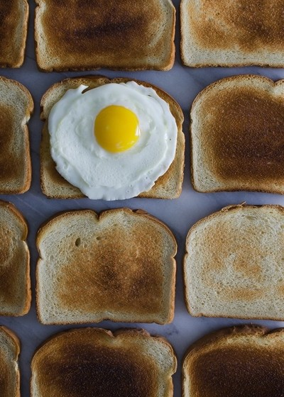 An egg on one toasted bread