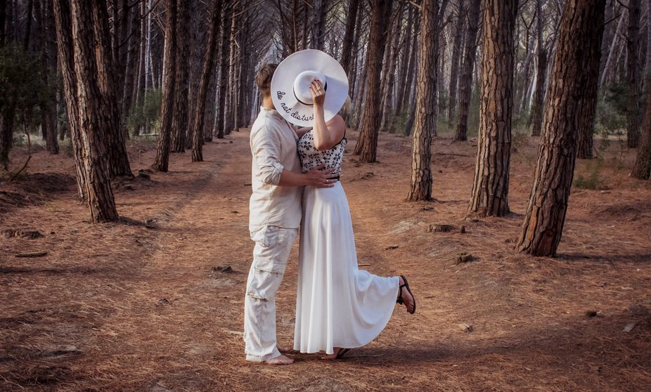 Hidden kiss in the forest