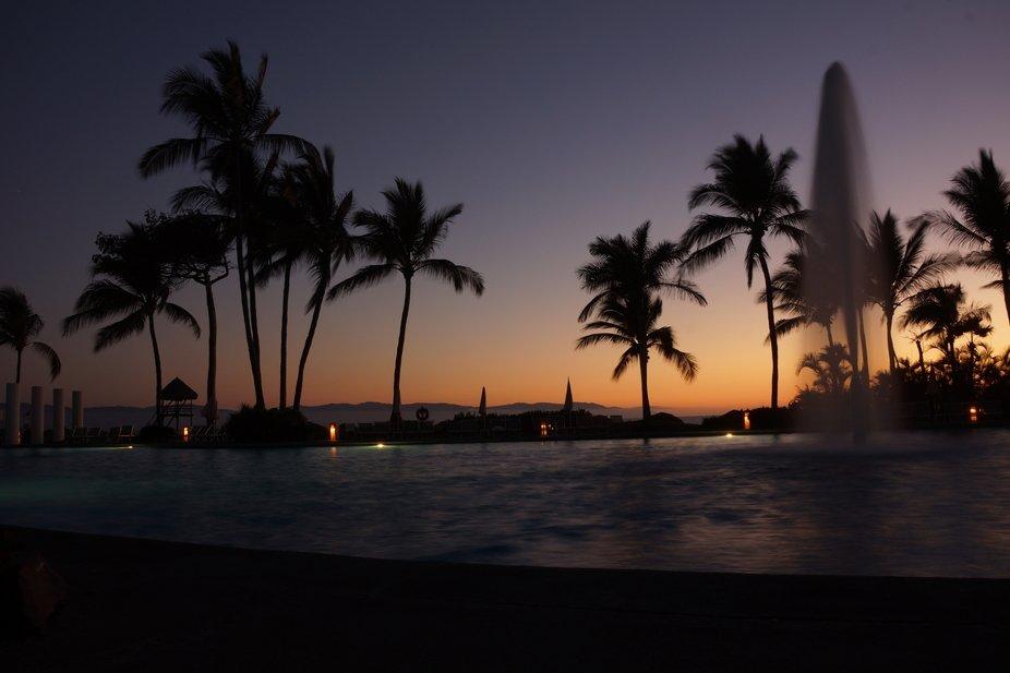 Another beautiful sunset by the pool at Vidanta Resort, Nuevo Vallarta