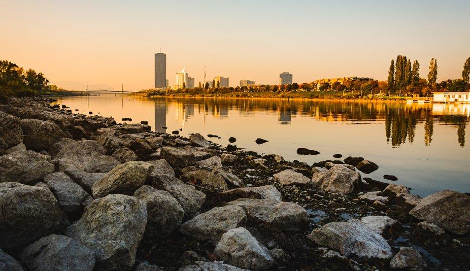 calming Danube at sunset