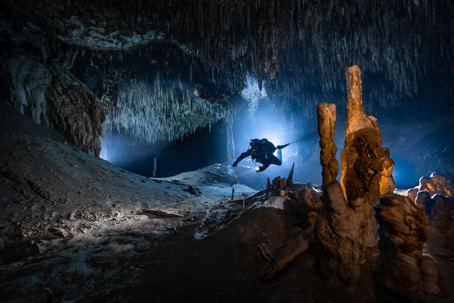 Cave diving in Yucatan, Mexico, November 2019