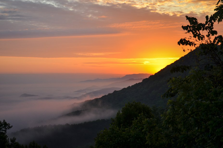 Sunrise over Wears Valley in the Great Smoky Mountains.