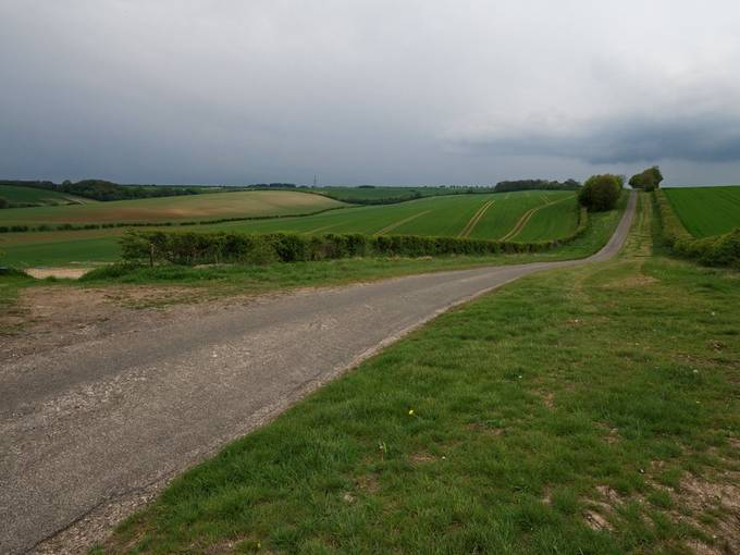 Empty road on the Lincolnshire Wolds, England.