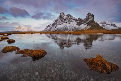 Morning Reflection Estrahorn Iceland