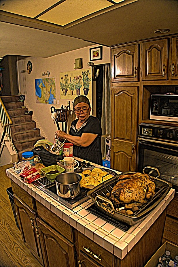 The meal looked delicious and mother was busy preparing the food for Jesse and I