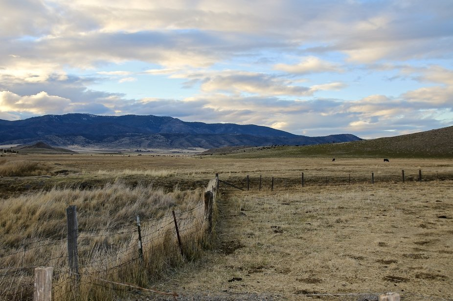 Late afternoon on my ranch search for light that was highlighting clouds and lowering sun to go w...