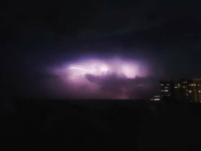 Lightening rolling across South Florida