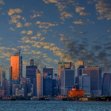 From the Staten Island Shore you can see at sunset the Shining City in the Harbor.