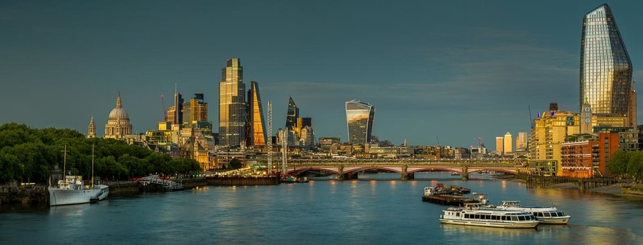Early evening view of the City of London