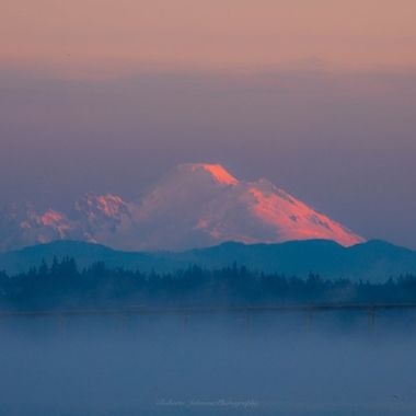 Mt. Baker a glow this morning. Such a beautiful way to begin the day! Hood Canal, Washington, USA