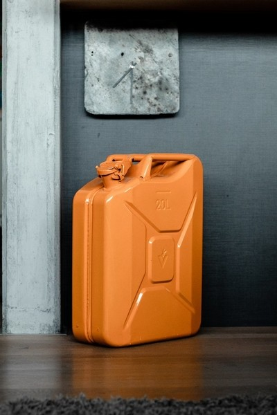 Decorative canister in modern house with concrete wall