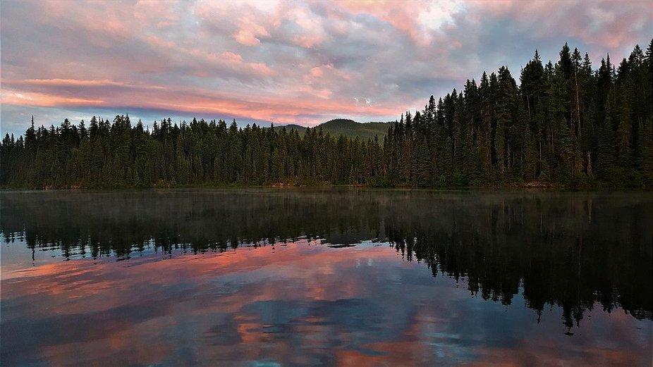 Sunset kisses the lake copy