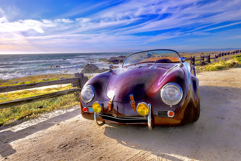 Classic Performance on a historic journey.   Doing this photo shoot for a local touring vehicle businrss was simply ama ing.  This 1958 Porshe Roadster along the beautiful Pacific Coast Highway aling the central coast of California
